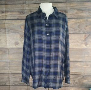 LOFT | Rhinestone Plaid Button Down Large